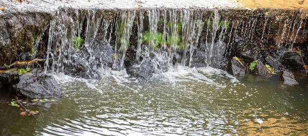 Petite cascade dans une rivière brésilienne sous la lumière du soleil, lumière naturelle, mise au point sélective.