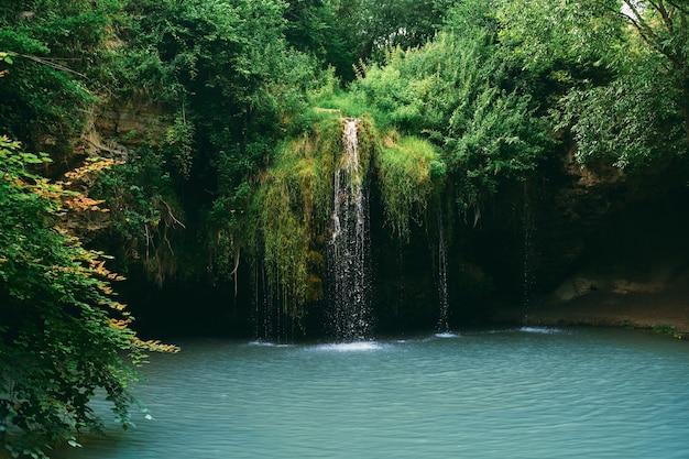 Une petite cascade et un lac entouré d'arbres en été. magnifique paysage à l'embouchure de la rivière.