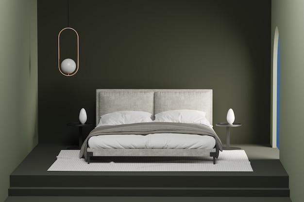 Une petite chambre confortable vert foncé.
