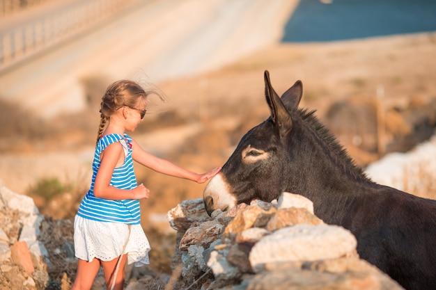 Petite fille adorable avec un âne dans son habitat sauvage