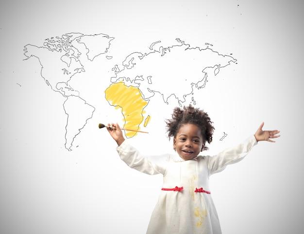 Petite fille africaine avec l'afrique