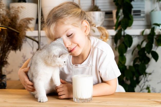 Une petite fille blonde est assise à une table avec un chaton écossais blanc sourit et regarde le chaton