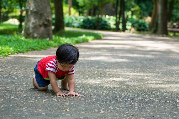 Une petite fille commence à marcher en premier sur le parc