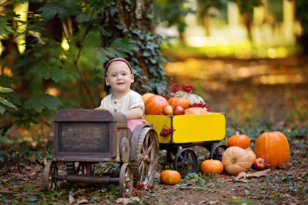 Petite fille dans un tracteur avec des citrouilles