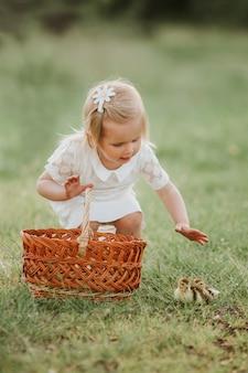 Petite fille jouant avec des canetons. filles au coucher du soleil avec de beaux canetons. le concept d'enfants avec des animaux