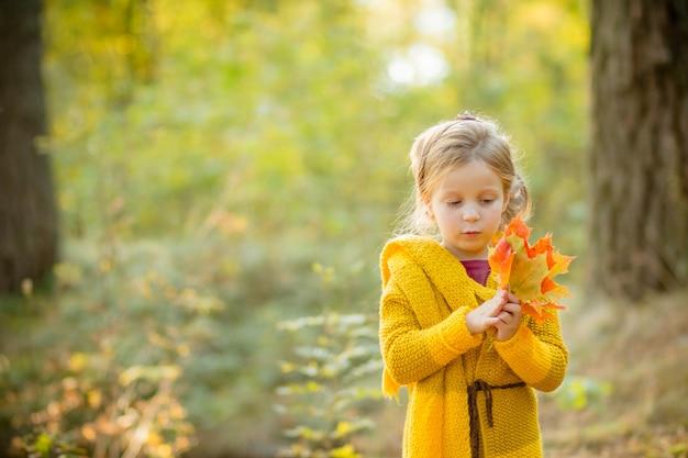 Petite fille jouant avec des feuilles. fond de nature automne.