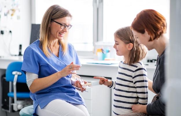 Une petite fille, une mère et un dentiste en chirurgie, un examen dentaire.