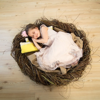 Une petite fille mignonne dans une robe rose et une couronne rose dort dans un grand nid et voit des rêves fabuleux.