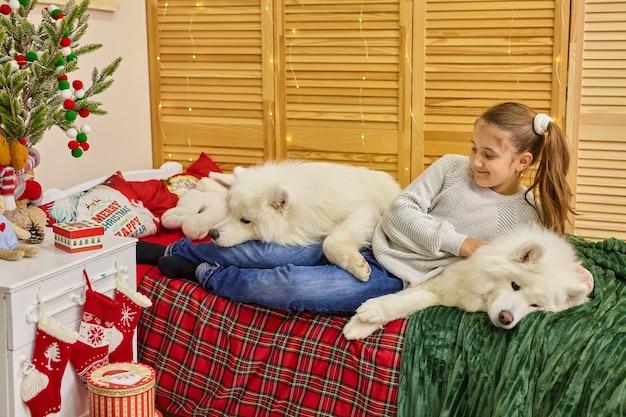 Petite fille mignonne espiègle de sourire étreignant de grands chiens pelucheux blancs de samoyède