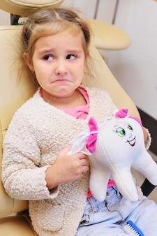 Petite fille pleure dans le fauteuil dentaire