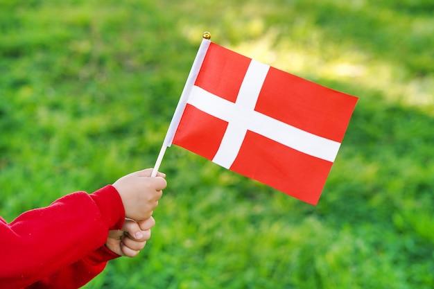 Petite fille tient le drapeau du danemark