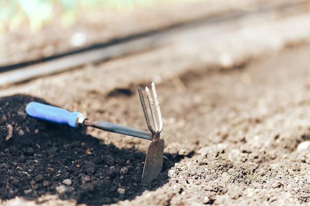 Petite houe de jardin et râteau au sol pour préparer l'ensemencement