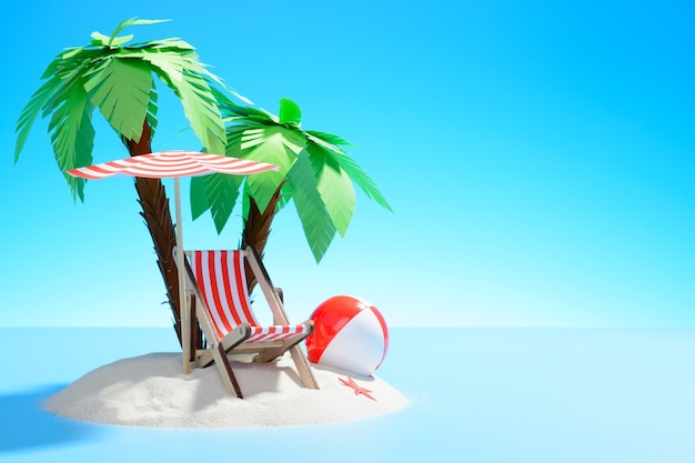 Petite île de rendu 3d avec chaise longue, parasol et ballon