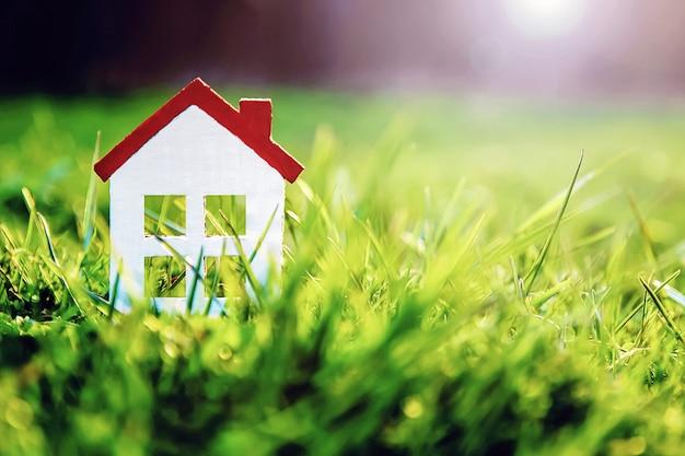 Petite maison en carton blanc sur la pelouse verte