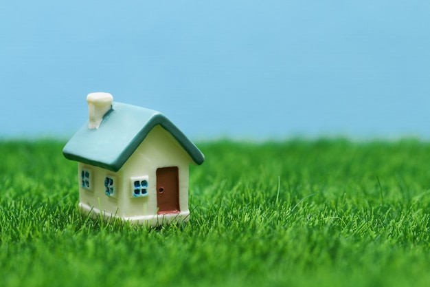 Petite maison de jouet sur fond d'herbe et de ciel.