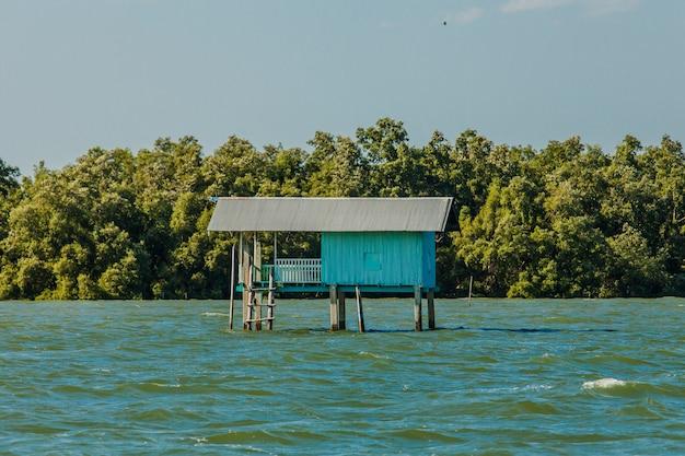 Petite maison de pêcheur et forêt de mangroves
