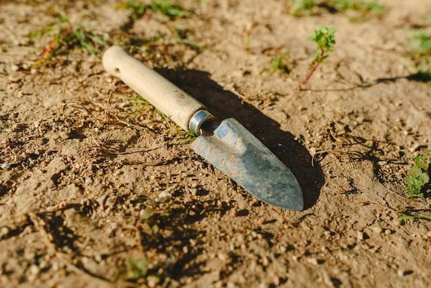 Petite pelle de jardin abandonnée sur le sol d'un jardin au soleil.