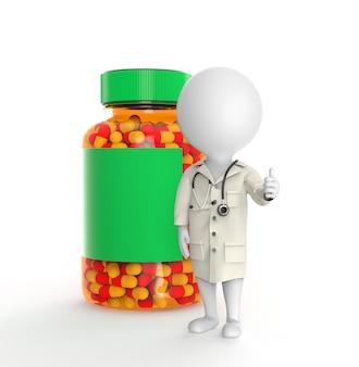 Une petite personne 3d en tant que médecin se tient près d'une bouteille de pilules