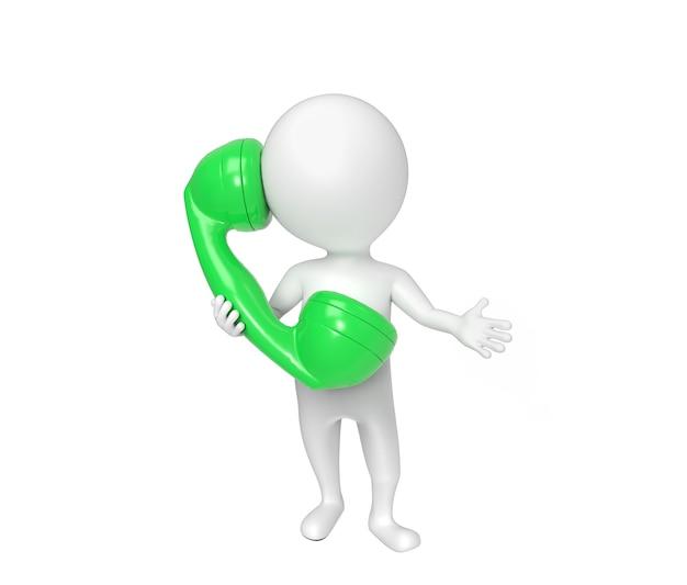 La petite personne blanche parle au téléphone d'isolement sur le blanc