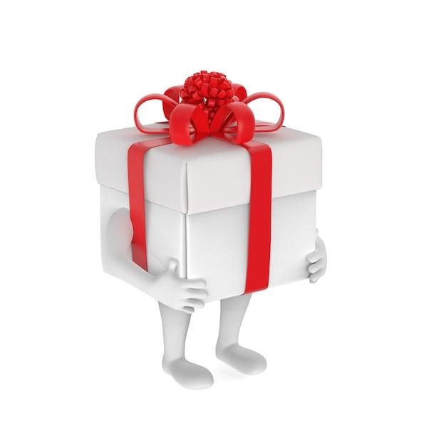 Petite personne avec boîte-cadeau à la place de la tête