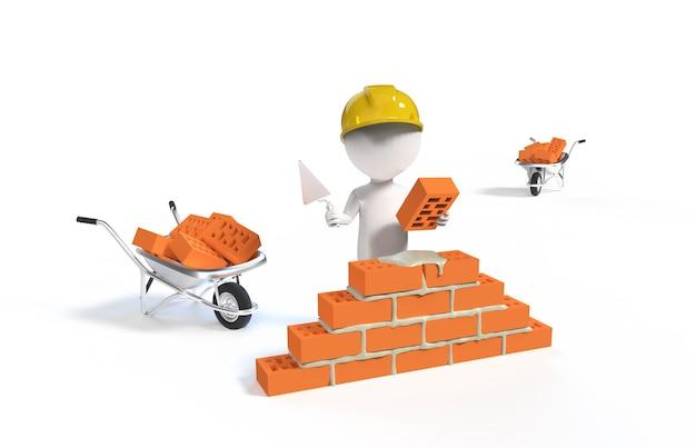 Petite personne - constructeur dans le casque avec une pelle et des briques isolées sur blanc