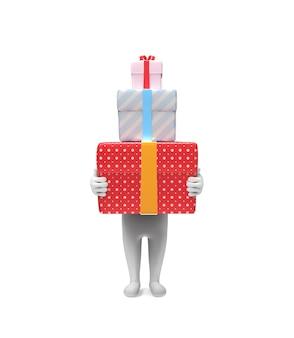 Une petite personne porte trois boîtes-cadeaux rigides
