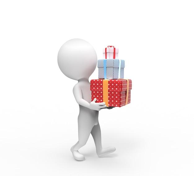 Une petite personne porte trois coffrets-cadeaux