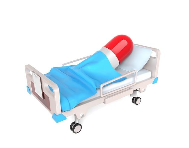 Petite pilule 3d dans un lit médical isolé sur blanc