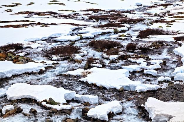 Petite rivière coulant parmi le sol enneigé