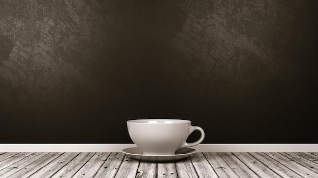 Petite tasse en porcelaine blanche dans la chambre