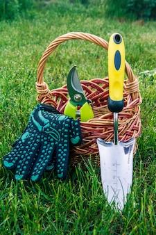 Petite truelle de jardin à main, sécateur et gants noirs avec panier en osier dans l'herbe verte. outils et équipement de jardin
