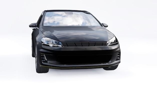 Petite voiture familiale noire à hayon sur fond blanc. rendu 3d.