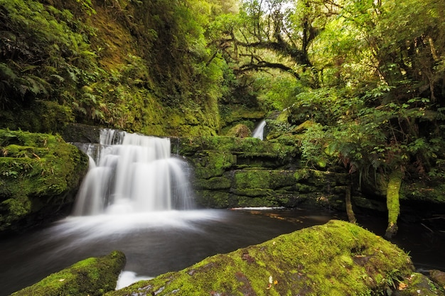 Petites chutes en aval de mclean falls, catlins, nouvelle-zélande