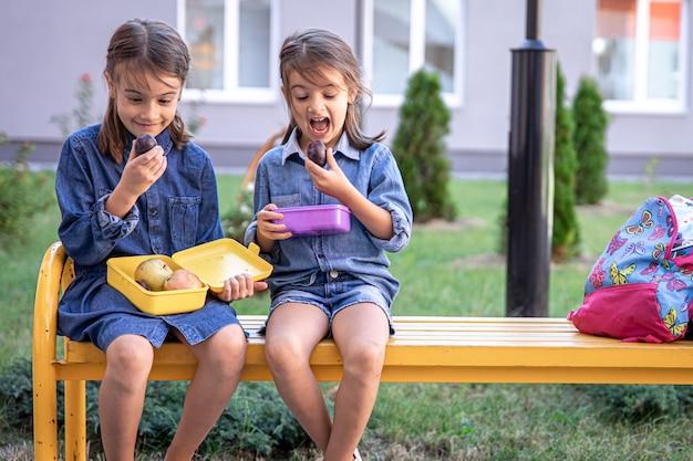 Petites écolières assises sur un banc dans la cour de l'école et mangeant dans des boîtes à lunch.