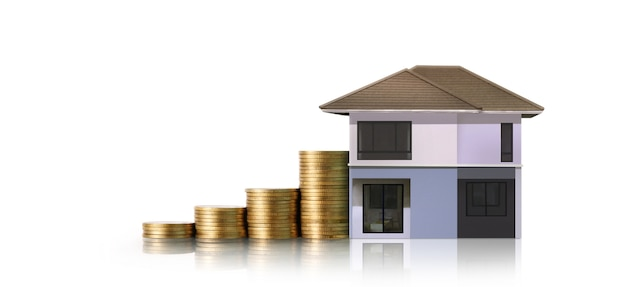 Petites maisons debout sur des piles de pièces. concept d'économie d'investissement