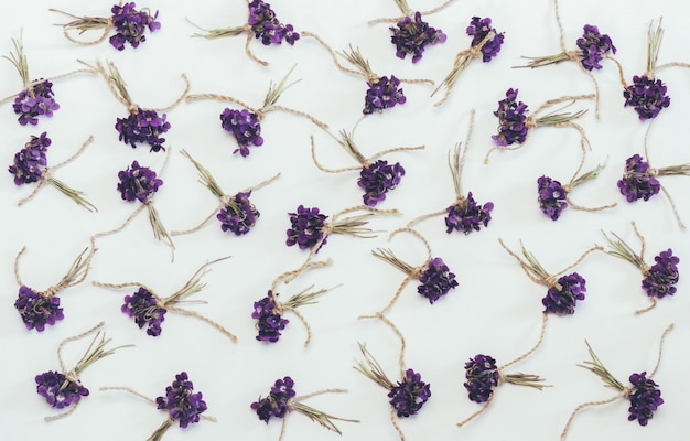 Petits bouquets de fleurs de forêt odorantes violettes blanches, vue de dessus plat poser