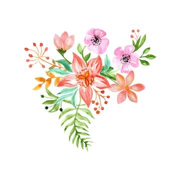 Petits bouquets de mariage de fleurs simples à l'aquarelle laisse des bourgeons et des brindilles fleurs de joyeux anniversaire