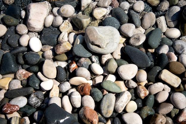 Petits cailloux ronds colorés au bord de la mer