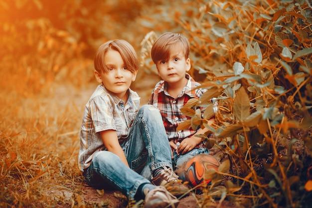 Petits garçons mignons jouant dans un parc
