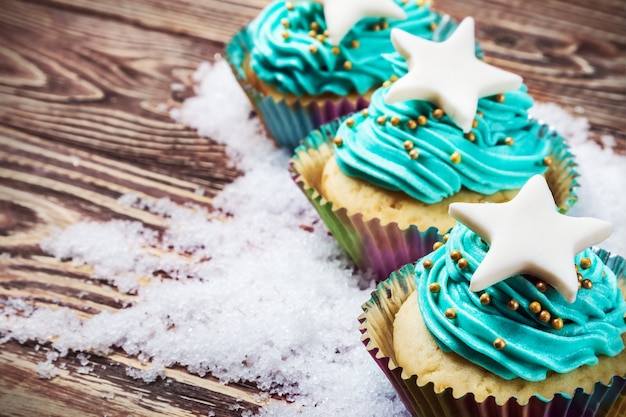 Petits gâteaux de noël dans la neige