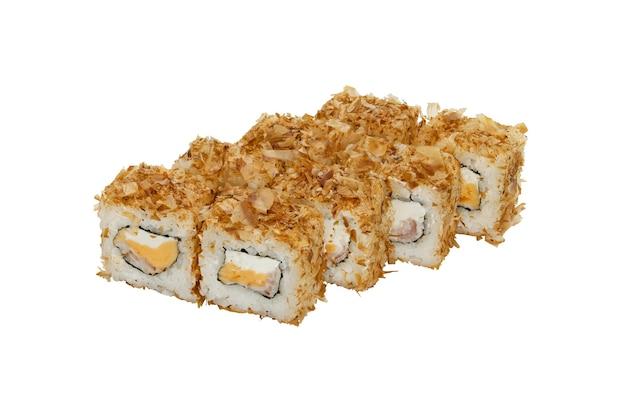 Petits pains avec fromage à la crème de fruits de mer et copeaux de poisson sur le dessus échantillon de plats cuisinés