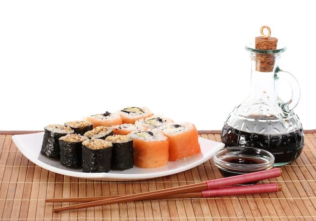 Petits pains savoureux servis sur une assiette blanche avec des baguettes et de la sauce soja sur un tapis de bambou isolé sur blanc