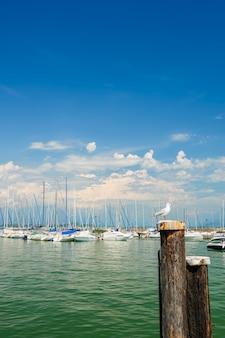 Petits yachts dans le port de desenzano, lac de garde, italie