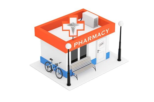 Pharmacie drugstore shop building sur un fond blanc. rendu 3d