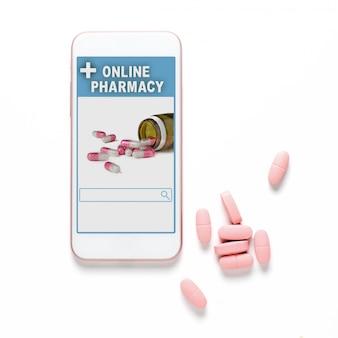 Pharmacie en ligne. application sur votre smartphone pour la commande en ligne de médicaments. pilules roses. fond blanc. le concept de choix pratique des médicaments