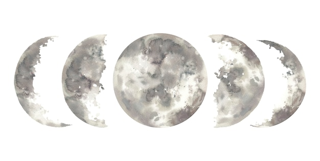 Phases de lune aquarelle. collection d'éléments dessinés à la main.