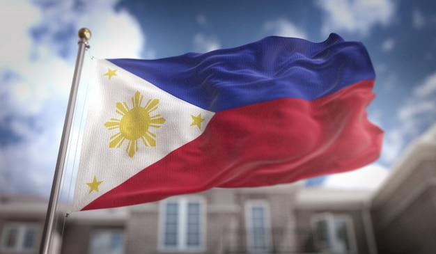 Philippines, drapeau, 3d, rendu, bleu, ciel, bâtiment, fond