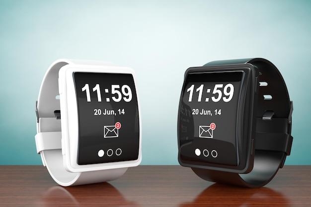 Photo à l'ancienne. grandes montres intelligentes conceptuelles sur la table