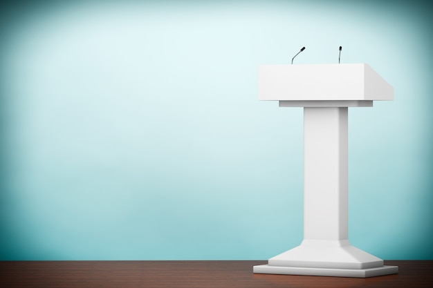 Photo à l'ancienne. pied de tribune blanc podium tribune avec microphones au sol