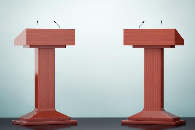 Photo à l'ancienne. podium tribune tribune tribune stands en bois avec microphones sur le sol